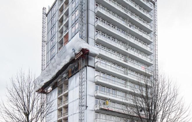 Rénovation bas carbone des façades de la Tour Javel Gare à Sarcelles