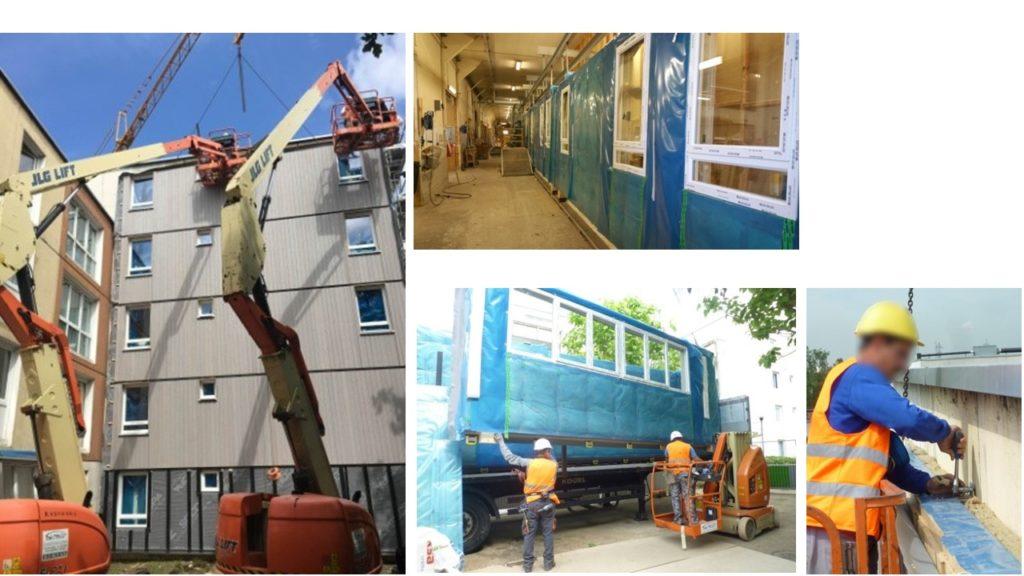 Intégration des menuiseries aux murs ossature bois en usine, transport et pose des nouvelles FOB, Façade Ossature Bois.<br /> Calfeutrement entre le mur existant et la nouvelle FOB, mur manteau.