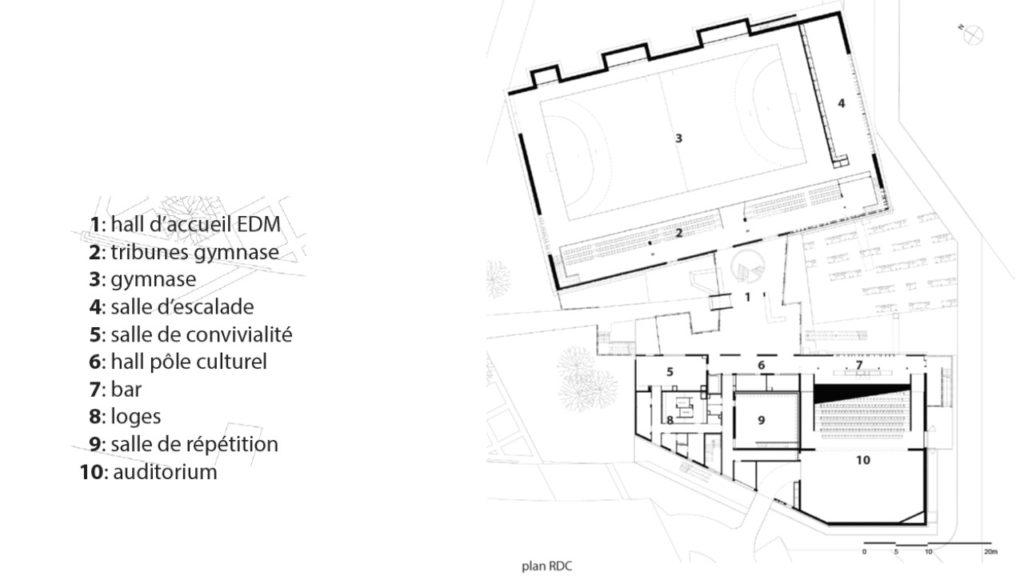 """plan masse, organisation des 3 entités principales, deux volumes de bois et une """"boîte rose"""""""